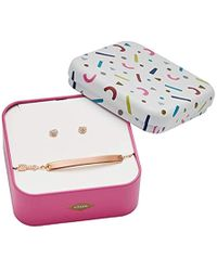 Fossil - Heart And Arrow Rose Gold-tone Stainless Steel Studs And Bracelet Box Set, One Size - Lyst