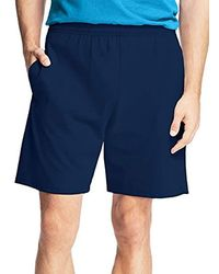 Hanes Jersey Short With Pockets - Blue
