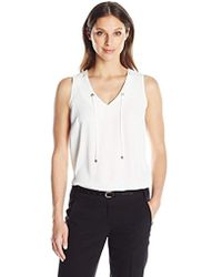 Kasper - V Neck Cdc Cami With Grommet Tie - Lyst