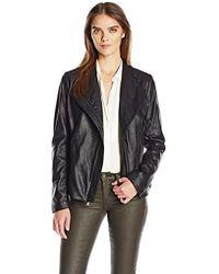 T Tahari - Kelly Asymmetrical Fitted Peplum Leather Jacket - Lyst