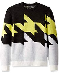 Armani Exchange Large Houndstooth Crew Neck Sweater In Black/white