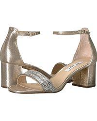 8ce395e5e0cc Lyst - Nina Elenora Rhinestone-embellished Satin Ankle Strap Block ...