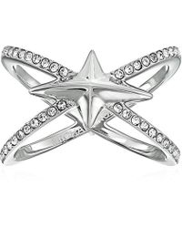 Michael Kors - Brilliance Starburst Pave Silver-tone Open Ring - Lyst