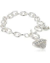Guess - Toggle Charm Bracelet, Silver, One Size - Lyst