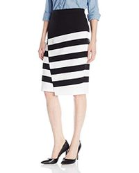 BB Dakota - Portia Striped Ponte Faux Wrap Skirt - Lyst