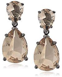 CZ by Kenneth Jay Lane - Cubic Zirconia Double Pear Drop Earrings - Lyst