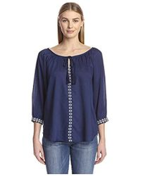 James & Erin - Embroidered Peasant Top - Lyst