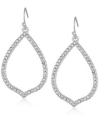 T Tahari - Essentials Pave Teardrop Hoop On Fish Wire Drop Earrings, Silver, One Size - Lyst