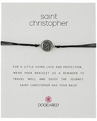Dogeared - St. Christopher On Black Cord Necklace - Lyst