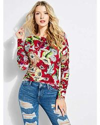 Guess - Long Sleeve Zion Ruched Top - Lyst