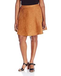 New Look - Plus-size Suedette Skater Skirt - Lyst