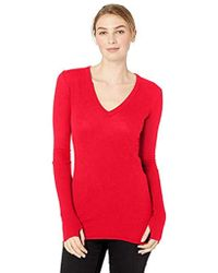Enza Costa - Cashmere Long Sleeve Cuffed V-neck Top With Thumbhole - Lyst