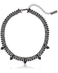 Steve Madden - Beaded Curb Sq Trngl Choker Necklace, Blue - Lyst