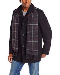 Dockers - Wool Melton Walking Coat With Detachable Scarf - Lyst