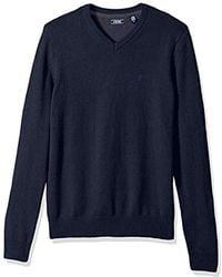 Izod - Premium Essentials Fine Gauge Solid V-neck Sweater, Navy Peacoat, Small - Lyst