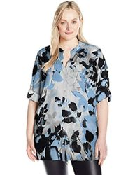 Calvin Klein - Plus Size Printed Roll Sleeve Top - Lyst
