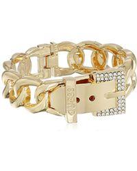 Guess - S Buckle Hinge Frozen Chain Bracelet W/pave Accent - Lyst
