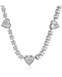 "CZ by Kenneth Jay Lane - Traditional Collection Cubic Zirconia Heart Station Necklace, 16"", 10 Cttw - Lyst"