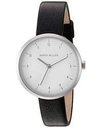 Karen Millen - Quartz Brass-plated-stainless-steel And Leather Dress Watch, Color:black (model: Km135b) - Lyst