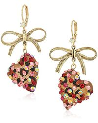 Betsey Johnson - Roses Gold And Pink Bow And Heart Drop Earrings - Lyst