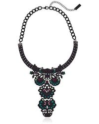 Steve Madden - S Casted Curb Leather Bib Statement Choker Necklace - Lyst