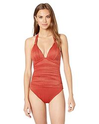 6d925165c23a5 Kenneth Cole V-neck Front Keyhole One Piece Swimsuit in Blue - Lyst