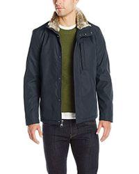 Marc New York - Kips Bay City Rain Jacket With Faux Fur Trim Collar - Lyst