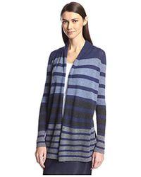 SOCIETY NEW YORK - Stripe Open Cashmere Cardigan - Lyst