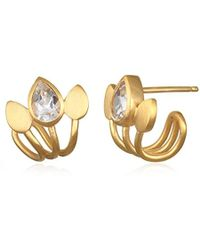 Satya Jewelry - S White Topaz Gold Lotus Cuff Earrings, One Size - Lyst