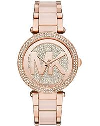 600865038ff4 Lyst - Michael Kors Ladies Parker Chronograph Glitz Watch in Metallic