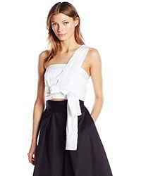 adf438f1cec5 Kendall + Kylie Ruched Mesh Top in Black - Lyst