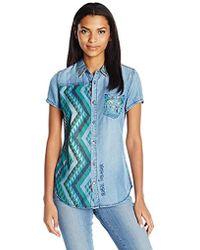 Desigual - Carson City Denim Short Sleeve Shirt, - Lyst