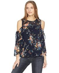 81b280e01ae275 Lucky Brand - Printed Cold Shoulder Top - Lyst