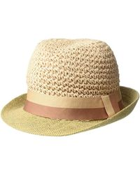 a9e5b590771e92 Steve Madden Paper Crochet Straw Fedora With Woven Band (blush) Fedora Hats  in Black - Save 4% - Lyst