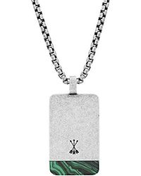 "Steve Madden - Green Simulated Malachite Accent Dogtag Necklace On 26"" Box Chain In Stainless Steel, Silver-tone, 26 - Lyst"