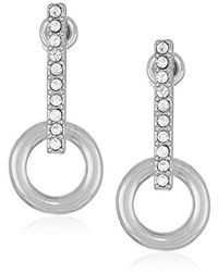 Kenneth Cole - Silver Stick Earrings With Circle Drop, Crystal, One Size - Lyst