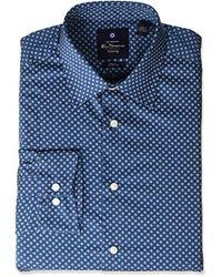 14f42576e Lyst - Tommy Hilfiger Classic-fit Easy Care Slate Blue Geo Print ...
