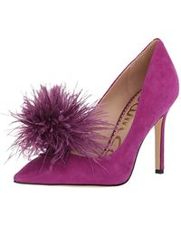 b6a42dcc45e1 Lyst - Sam Edelman Haide Suede Feather Pompom Pump in Purple