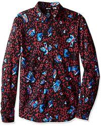 a45d27a8775a92 Lyst - Just Cavalli Leopard Print Short-sleeve Shirt in Black for Men