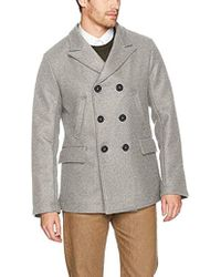 69d0b16b7a9 Billy Reid - Wool Double Breasted Bond Peacoat With Leather Details - Lyst