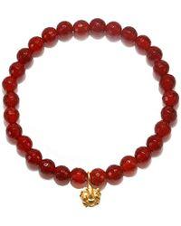 Satya Jewelry - S Carnelian Gold Ganesha Stretch Bracelet, Orange, One-size - Lyst