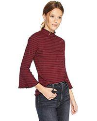 Michael Stars - Rachel Stripe 3/4 Sleeve Mock Neck Top, - Lyst