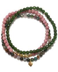 Satya Jewelry - Rhodonite, Fancy Jasper, Jade Gold Petal Stretch Bracelet Set, Multi, One Size - Lyst