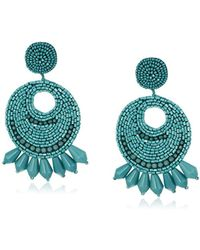 Kenneth Jay Lane - Faux-turquoise Seed Bead Round Gypsy Hoop With Prcd Drop Earrings - Lyst