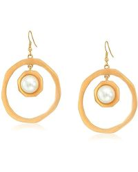 Kenneth Jay Lane - Satin Gold Open Circle Pearl Center Drop Earrings - Lyst