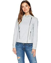 James Jeans - Biker Babe Combo Motorcycle Jacket In Hush Blue & Grey - Lyst