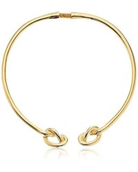 Kenneth Jay Lane - Polished Gold Knot End Collar Necklace - Lyst