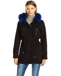 Steve Madden - Cotton Anorak With Faux Fur Trimmed Hood - Lyst