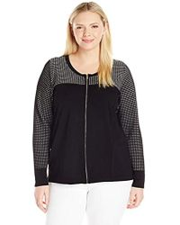 8b44c8b2c41 Lyst - Calvin Klein Plus Size Long Jacket With Suede And Pu in Black