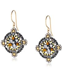 Miguel Ases - Swarovski Centric Grey Drop Earrings - Lyst